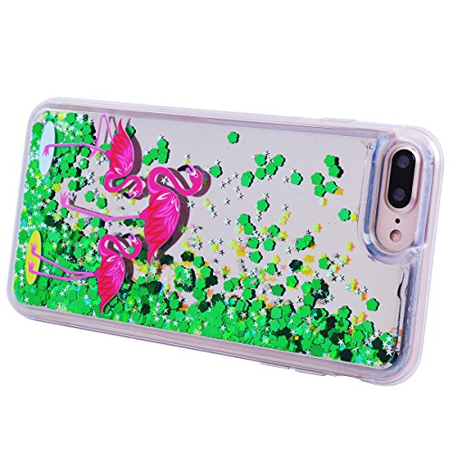GrandEver Coque iPhone 8 / iPhone 7, 3D Liquide Silicone TPU Transparente Paillette Vert Souple Flexible Etui Bling Glitter Sable Back Cover Case Anti-Choc Anti Rayures Housse pour iPhone 8 / iPhone 7 Flamant Rose B