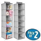 mDesign organizador de armarios para niños con 6 compartimentos - Organizador de tela para colgar - Colgador de armario para ropa y otros accesorios de bebé - Color gris - Juego de 2 unidades