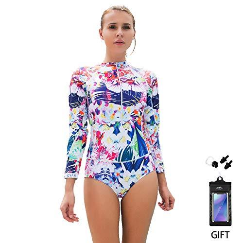 Bikini Badeanzug FOCLASSY Damen Einteiler BIKINI Badeanzug Langarm Mode FLower bedruckt Plus Size Reißverschluss vorne Push Up Bademode mit Chest Pad -10122 (Weiß, XXL/ EU40-42) (Letztes Mal Kostüm)