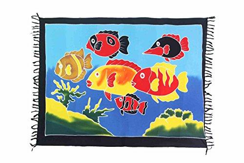 Ca 30 Modelle Sarong Pareo Wickelrock Standtücher Schals Handtuch aus der Serie Crazy Islands Riesen Auswahl Fische im Meer