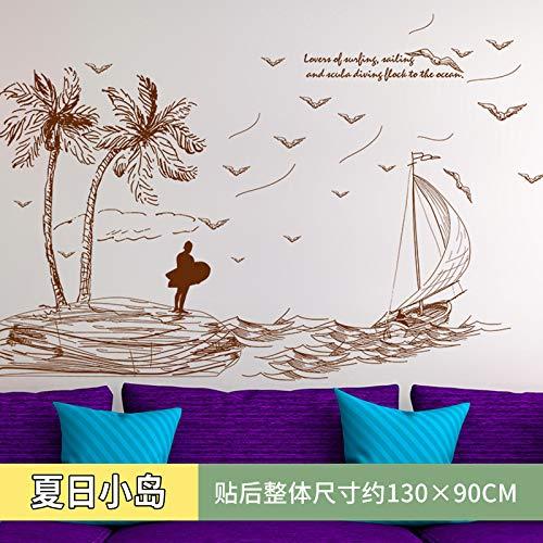 Wandaufkleber Pvc Persönlichkeit Mittelmeer Foto Wand Aufkleber Kinder Zimmer Wand Aufkleber Dekoration Warmes Schlafzimmer Tapete Selbst-stick 130 x 90cm insel -