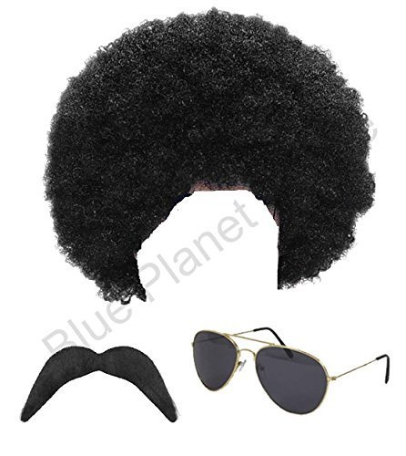 1980s 80s Scouser Black Afro Wig, Moustache and Aviator Sunglasses Fancy Dress by Blue Planet Online