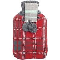 Snugg Warmers Wärmflaschen trendige Gestrickter Bezug mit Pom Poms Red + Grey preisvergleich bei billige-tabletten.eu