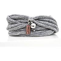 Armband Wickelarmband aus Stoff weich hellgrau oder in Wunschfarbe mit Charm / Anhänger Perle silber individuelle Valentinstag Geschenke