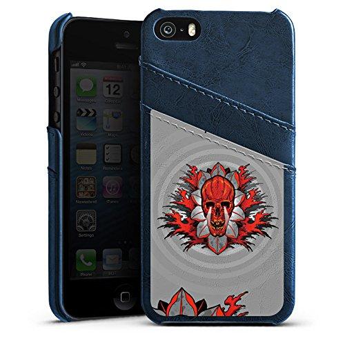 Apple iPhone 5s Housse Étui Protection Coque Vie et mort Tête de mort Tête de mort Étui en cuir bleu marine