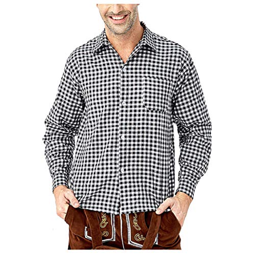 LSAltd Fashion Men Beer Festival Classic Plaid Revers Kragen Langarm-Shirt Casual Button V-Ausschnitt Bluse Top