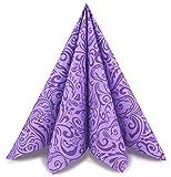 finemark 100 Stück Papierservietten William LILA/Flieder 40 x 40 cm Tissue Servietten 3- lagig Hochzeit Geburtstag Dinner Tischdekoration