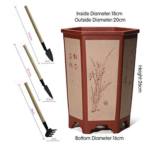 Nclon Revêtement céramique Boutique Pot de fleur ,Plusieurs styles Pour Les orchidées Chlorophytum Plante verte Bonsaï Avec Jardinage Outils Ensemble-G