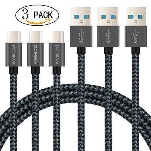 USB Typ C Kable, [3 Stück: 1m*3] USB 3.0 Datenkabel Ladekabel Nylon Type C Geräte für Samsung Galaxy Note 8 / S8 / S8 Plus, MacBook, Nokia 8, Google Pixel / Pixel 2, Nexus 5X / 6P, Huawei P9 / P10 / Mate9 / Mate 10, HTC 10 / U11, LG G5 / G6, OnePlus 2 / 3 / 5 / 5T und weitere