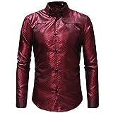 MRULIC Herren Gestreiftes Herrenhemd Langarm Button-Down T-Shirt Top Oberteile(Rot,EU-48/CN-XL)