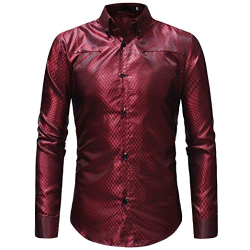 (MRULIC Herren Gestreiftes Herrenhemd Langarm Button-Down T-Shirt Top Oberteile(Rot,EU-48/CN-XL))