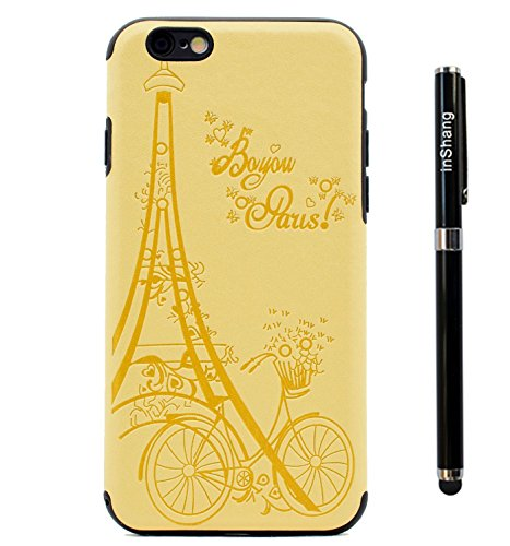 "inShang Hülle für iPhone 7 4.7"" ,Ultra Schlank und leicht TPU Bequem Schutzhülle Rückcover (Back Case) design für Handy iPhone7 4.7 inch, + inShang Logo hochwertigen Stylus Eingabestift Stift Yellow tower"