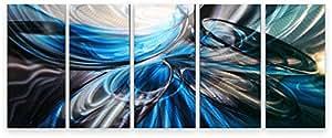 décoration murale métal moderne art peint à la main contemporain peinture abstraite - Blue Bubble