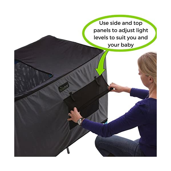 SnoozeShade Portable Blackout Blind and Canopy for Travel Cots SnoozeShade Sharing a room with your baby? There's no need to creep around in the dark (we've all done it). Let SnoozeShade make it easy. Keep the lights on without worrying about waking your little one. Invented by a British mum, it creates a comfortable darkened environment to help babies switch off and sleep in strange surroundings. Great for hotels, family visits, camping or any time you need baby to nap in the travel cot. So simple to use and easy to travel with. Just pop it over the travel cot, attach the bottom straps and you're done! Lightweight and no complicated attachments. 3