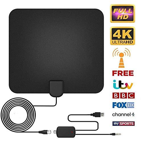 Antenne TV Intérieur [2019 Nouvelle Version], Antenne TV Interieur Puissante, 60+ Mile HDTV Antenne TNT Intérieur avec Signal Amplificateur Booster Support 4K HD VHF UHF FM avec 13FT Câble Coaxial