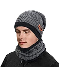 02eafa3fb9429c Unisex Slouch Knitted Beanie Hat with Circle Scarf for Men Women Winter  Stretchy Skull Cap Thermal