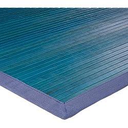 Monbeautapis 712226Solo Alfombra bambú 120x 70cm, bambú, Azul, 120x70x10 cm
