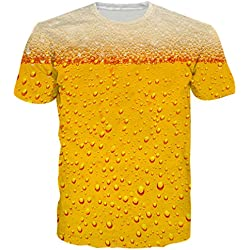 BFUSTYLE Unisex 3D Impreso Cerveza de Verano Ocasional de Manga Corta O-Cuello Superior Camisetas Camisetas