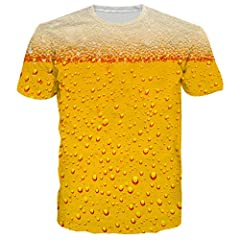 Idea Regalo - chicolife Unisex Casual 3D Birra Modello Top t-Shirt Manica Corta Stampata Tee Giallo