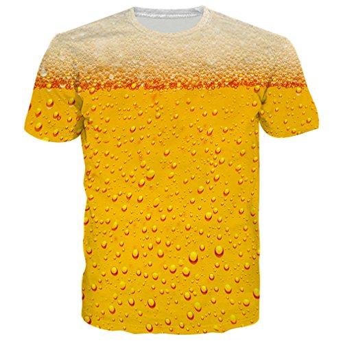 ual 3D - Bier - Muster gedruckt Kurzarm T-Shirts Top Tees ()