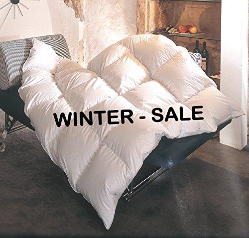 REVITAL warme Ganzjahres Daunendecke 135x200 Daunenbett, 90% Daunen, Wärmeklasse 3, 4x6 Kassetten, 3cm hohe Innenstege (135x200 cm)