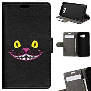 BeCool - Coque Housse Etui Portefeuille Samsung Galaxy A3 2016 Chat Cheshire support Intégré