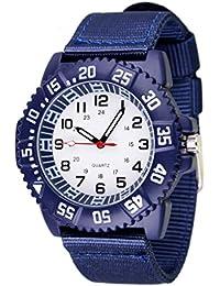 WOLFTEETH Wasserdichte Analog Quarz Weiß Zifferblatt blau Canvas Band Sport Aviator Pilot Armee für 12-jährige Teenager Junge Armbanduhr # 3017