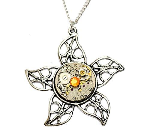 Tibetisches-Silber-Steampunk-Blume-Uhr-Bewegung-Halskette-Hand-Made-in-Cornwall-UK-