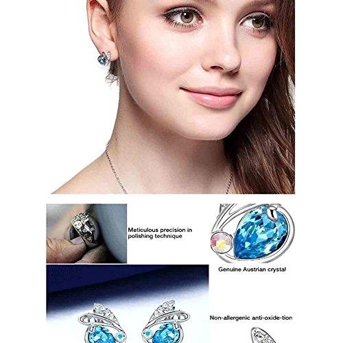 NEVI Swan Animal Fashion Swarovski Elements Rhodium Plated Stud Earrings Jewellery for Women And Girls (Blue & Silver)