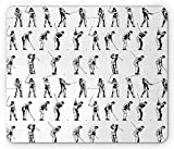 SHAQ Golf Mouse Pad Tapis De Souris, Golf Swing Shown in Fourteen Stages Sports Hobby Themed Sketch Art Storyboard Print, Standard Size Rectangle Non-Slip Rubber Mousepad, Black White...
