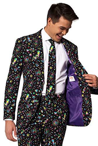 OppoSuits Karnevalskostüme Herren festlichem Druck Anzug mit Krawatte, Disco Dude, 50