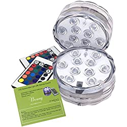 Bcony 10 LEDs RGB sumergible de lámpara luz LED con mando a distancia,Multi Color que destella a prueba de agua de luz brillante para la boda/fiesta/de la Navidad/piscina/Fish Tank decorativa, un conjunto de 2