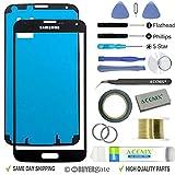 Acenix Ersatzteile-Set für Samsung Galaxy S5, 1 x Touchscreen-Abdeckung, Schwarz, mit vorderem Glas-Objektiv, 1x Rolle doppelseitiges Klebeband 2 mm, 1x Rolle goldener Molybdän-Draht, 1x Pinzette, 1x hochwertiges Reinigungstuch, 1x Saugnapf mit Schraubenzieher und Kunststoff-Hebelwerkzeug, 17-teilig