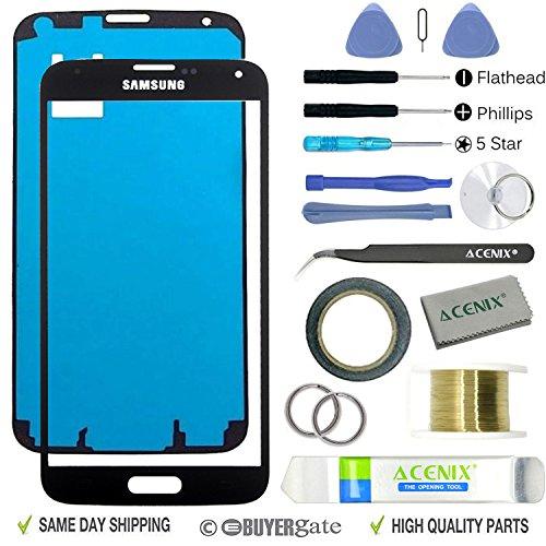 Acenix Ersatzteile-Set für Samsung Galaxy S5, 1 x Touchscreen-Abdeckung, Schwarz, mit vorderem Glas-Objektiv, 1x Rolle doppelseitiges Klebeband 2 mm, 1x Rolle goldener Molybdän-Draht, 1x Pinzette, 1x hochwertiges Reinigungstuch, 1x Saugnapf mit Schraubenzieher und Kunststoff-Hebelwerkzeug, 17-teilig Samsung Galaxy S5 Lcd Austausch