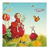 Vliestapete Premium Fensterbild Erdbeerinchen Erdbeerfee–– Enchanting–Wandbild eckig