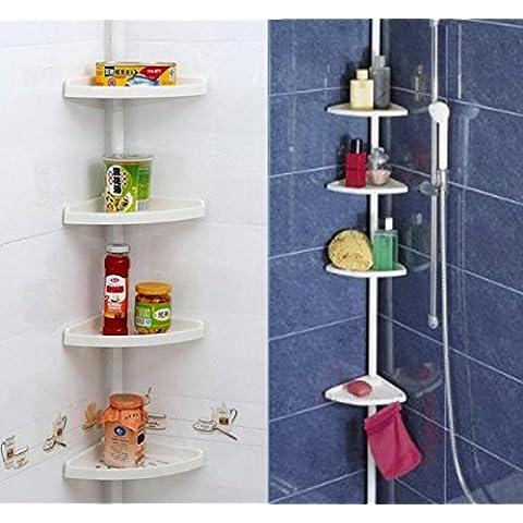 Stella–Estantería telescópica para ducha Caddy baño esquina armario de almacenamiento de plástico