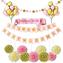 Baby Shower Decorations Girls, es una niña Banner 21 globos 9 Tissue Pom Poms