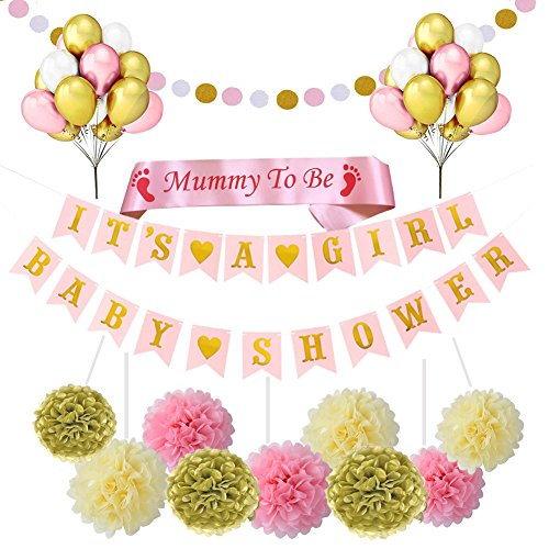(Restro Baby Shower Dekorationen Mädchen, Es ist ein Mädchen Banner 21 Ballons 9 Tissue Pom Poms)