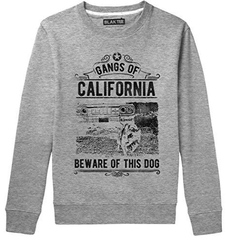 BLAK TEE Gangs of California Beware of This Dog It Might Bite You Slogan Unisex Damen Herren Pullover Sweatshirt L
