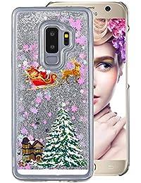 Klar Hart Hülle für Galaxy S6,Plastik Hülle für Galaxy S6,Moiky Luxuriös Stilvoll Weihnachten Baum Wagen Serie Muster Bunt Sterne Glitzer Crystal Weich TPU Stoßfest Kratzfeste Schutzhülle