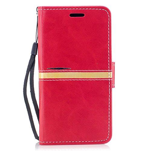 """Coque pour Apple iPhone X ,IJIA Élégant Rose PU + TPU Doux Silicone Slot Flip Cuir Portefeuille ID Credit Card fonction Case Cover Coque Housse Etui pour Apple iPhone X (5.8"""") Red"""