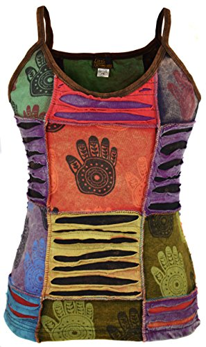 LITTLE KATHMANDU Mujeres Heena impresión de Razor Cut Parche algodón Camiseta de Tirantes