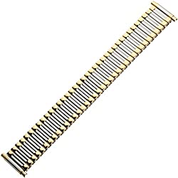 Uhrenarmband 18mm XS Edelstahl extra kurz bicolor, silber / gold - Zugband, dehnbar - Flexband aus Metall - Marburger Uhrband Ascoflex - Teleskopanstoß 16mm - 22mm - Marburger Uhrenarmbänder seit 1945