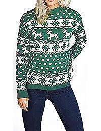 Mymixtrendz. Maglia da Donna Maglione di Natale con Maniche Lunghe e Fiocco di Neve