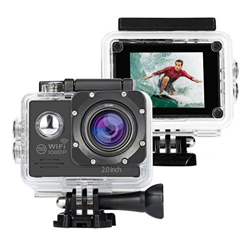 NEXGADGET Cámara Deportiva WiFi Impermeable IP68 FHD 1080P 12MP de Imagen y Vídeo Sumergible hasta 30m Gran Angular Lente de 140 Grados con Accesorios Múltiples