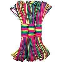Leosi 30,8m 7filo Paracord corda colore arcobaleno paracadute Outdoor nylon corda per attività all' aperto e intreccio bracciali, 1 Pack