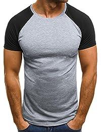 Camiseta y polos basica,Beikoard caballero Moda La personalidad de los hombres de manga corta camiseta Casual Slim solido…