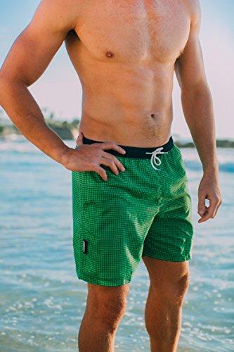 GUGGEN MOUNTAIN Herren Badeshorts Beachshorts Boardshorts Badehose kariert *Blau Lila* Grün