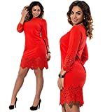 YYDRESS Robe creuse droite de grande taille pour femme , red , xl