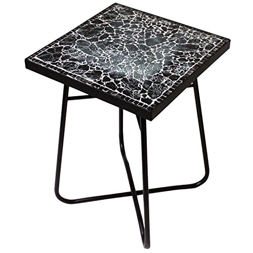 Urban Designs Cracked Black Mosaic Square Accent Table